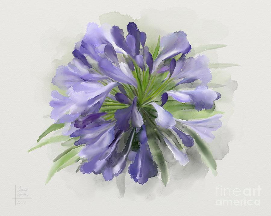 Blue Painting - Blue Purple Flowers by Ivana Westin