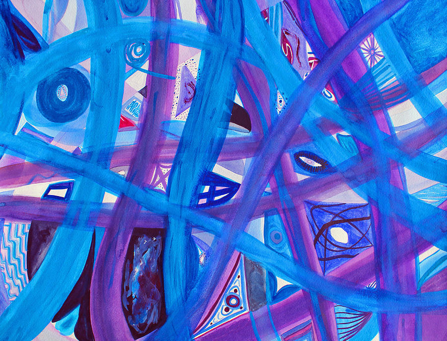 Abstract Painting - Blue Purple Paths  by Lee Serenethos