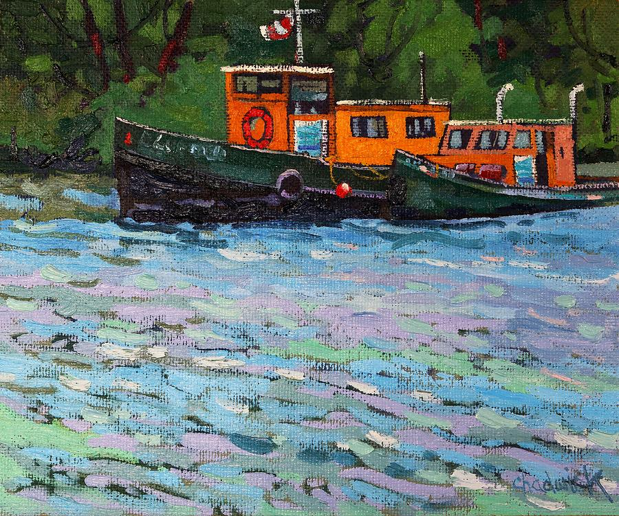 Boats Painting - Blue Quail by Phil Chadwick