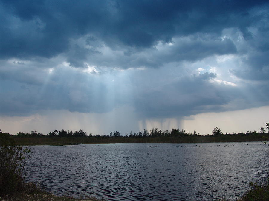 Landscape Photograph - Blue Rain Down by Florene Welebny