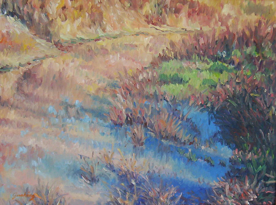 Water Painting - Blue Reflections by Cindy Sugg