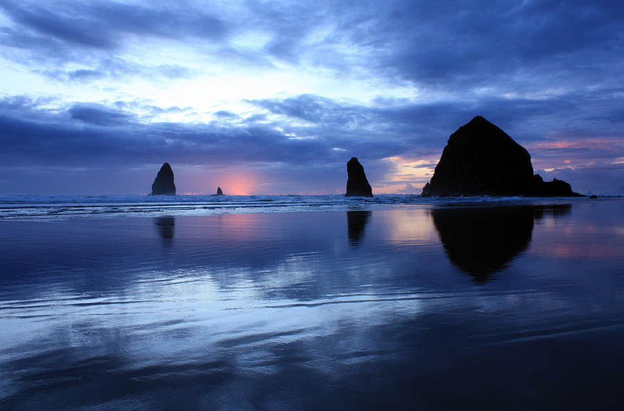 Cannon Beach Oregon Photograph - Blue Reflections  by Kami McKeon