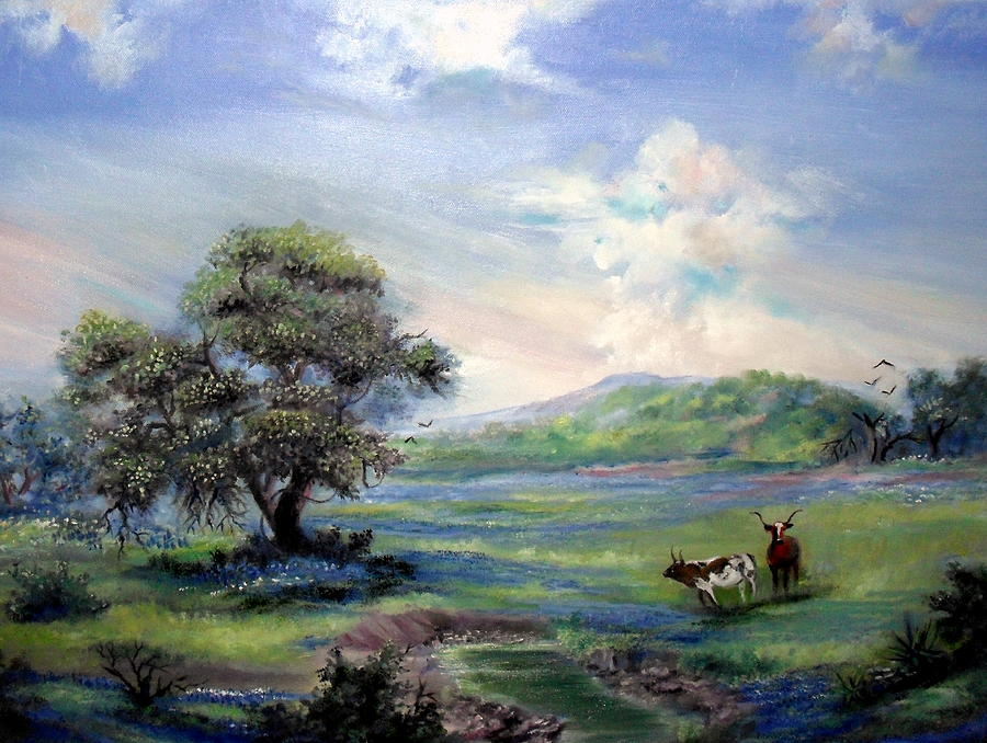 Landscape Painting - Blue Respite by Judith Allison