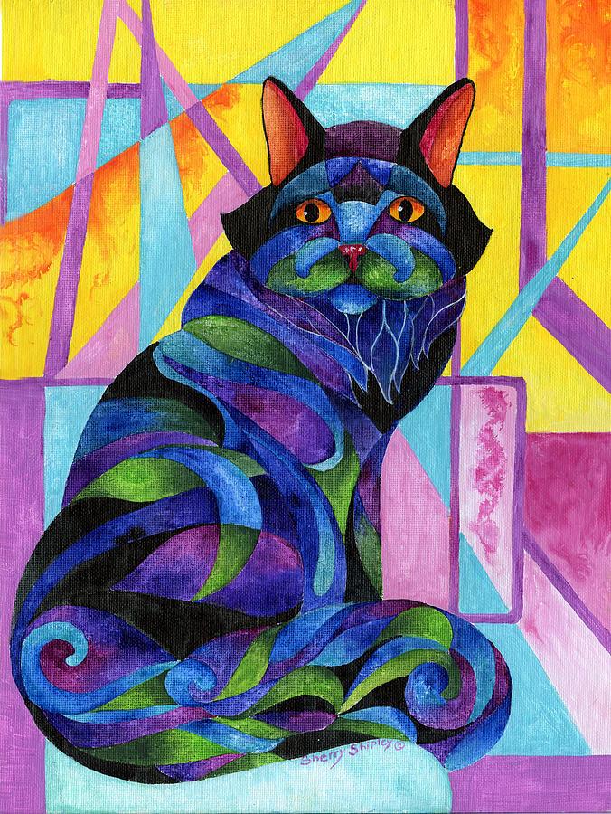 Cat Painting - Blue Rhapsody by Sherry Shipley