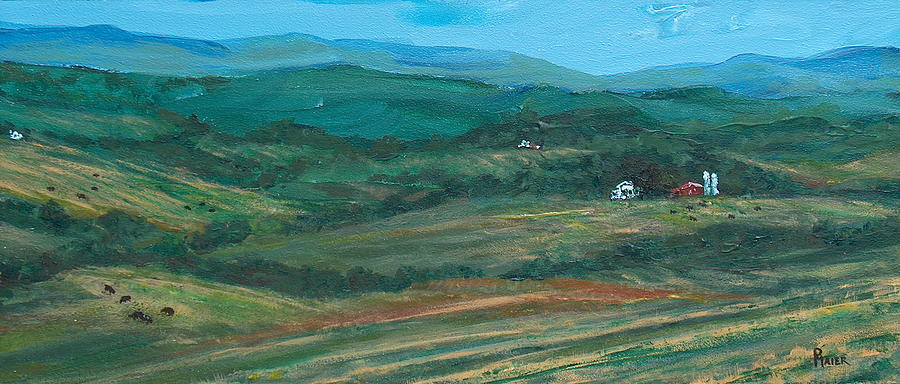 Mountains Painting - Blue Ridge Black Cows by Pete Maier