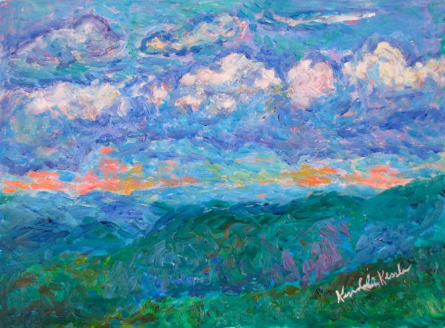 Landscape Paintings Painting - Blue Ridge Magic From Sharp Top Stage One by Kendall Kessler