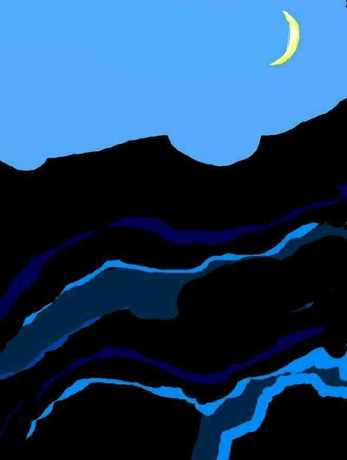 Mountains Drawing - Blue Ridge Mountains And Moon by Kathy Barney