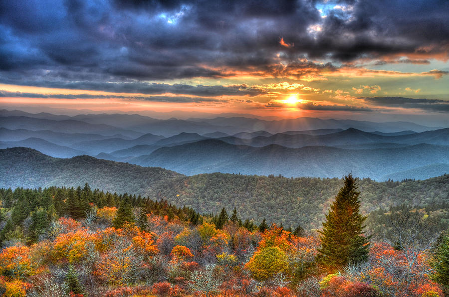 Landscape Photograph - Blue Ridge Mountains Sunset by Mary Anne Baker