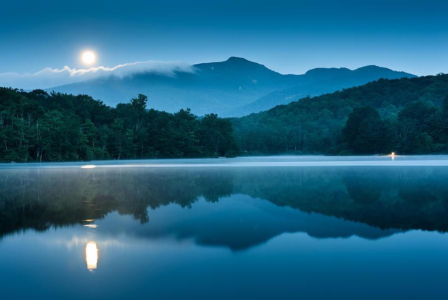 Mountain Photograph - Blue Ridge North Carolina Full Moon Mountain Reflections by Mark VanDyke