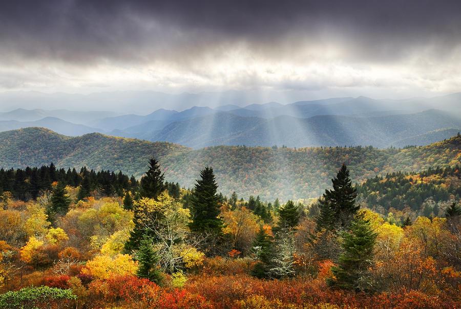 Autumn Photograph - Blue Ridge Parkway Light Rays - Enlightenment by Dave Allen