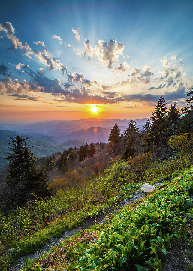 Sunset Photograph - Blue Ridge Parkway NC Follow The Sun by Robert Stephens