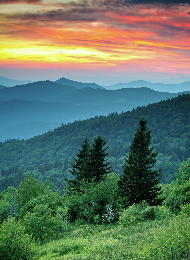 Blue Ridge Parkway Photograph - Blue Ridge Parkway Nc Landscape - Fire In The Mountains by Dave Allen