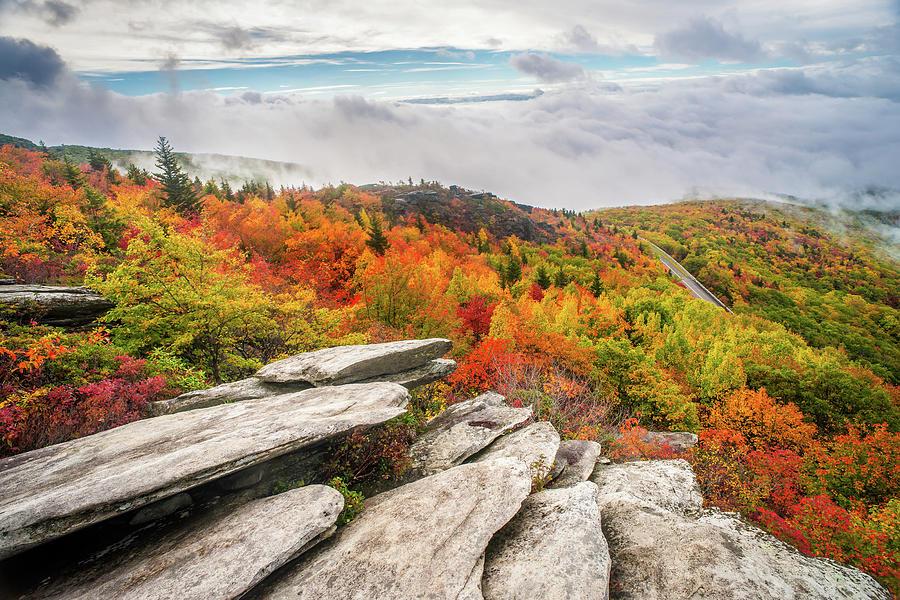 Landscape Photograph - Blue Ridge Parkway Nc Rough Ridge Autumn by Robert Stephens