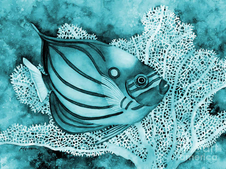 Fish Painting - Blue Ring Angelfish in Blue by Hailey E Herrera