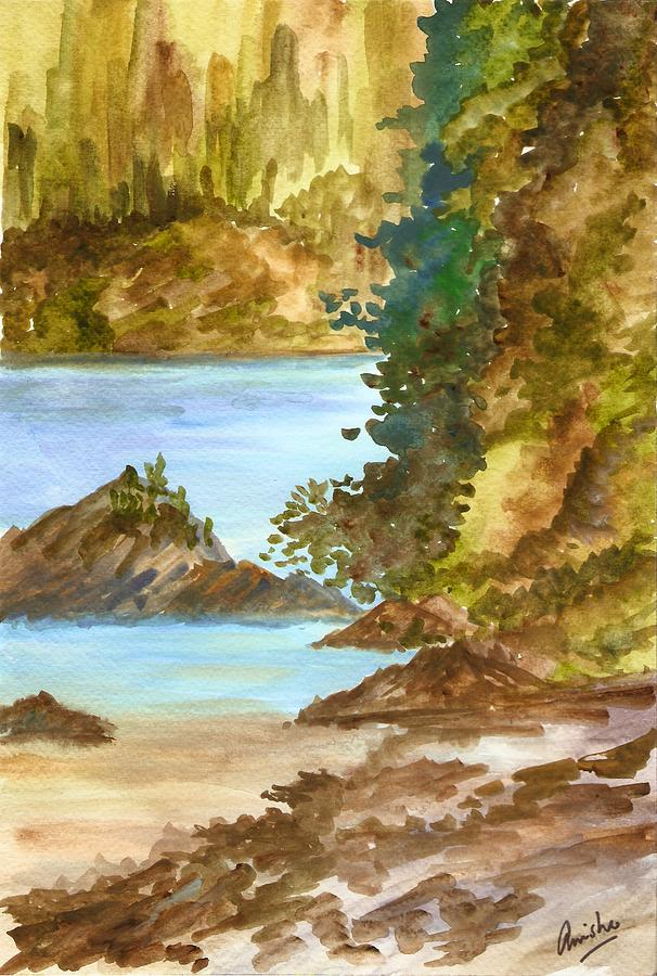 Water Painting - Blue River by Anisha Bordoloi