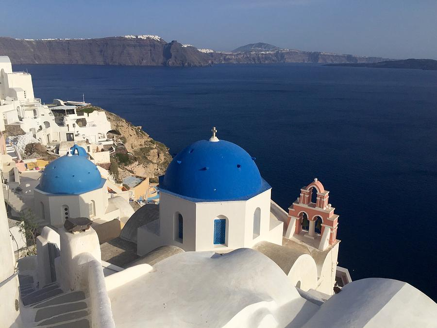 Santorini Photograph - Blue Roofs by Leslie Brashear