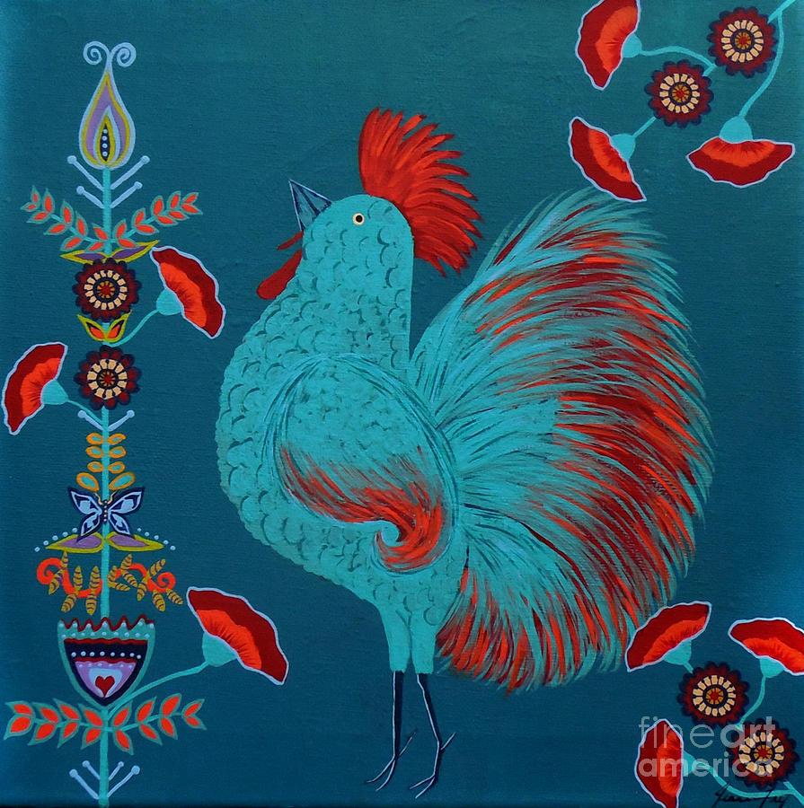 Blue Rooster Folk Art by Jean Fry