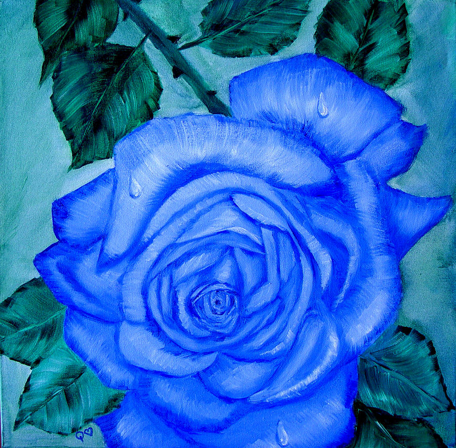 Rose Painting - Blue Rose by Quwatha Valentine