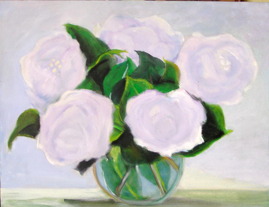 Flowers Painting - Blue Roses by Celine Raphael-Leygues