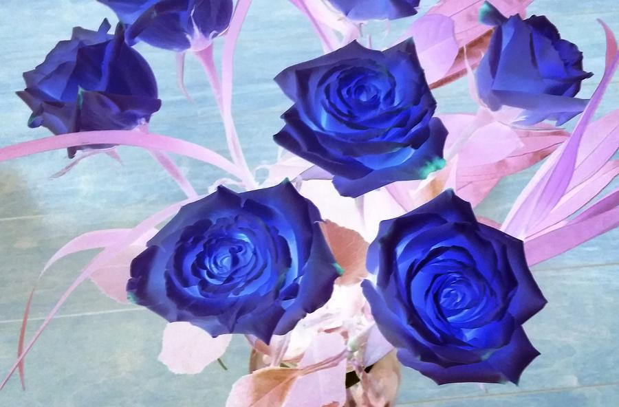 Blue Roses Abstract by Karen J Shine