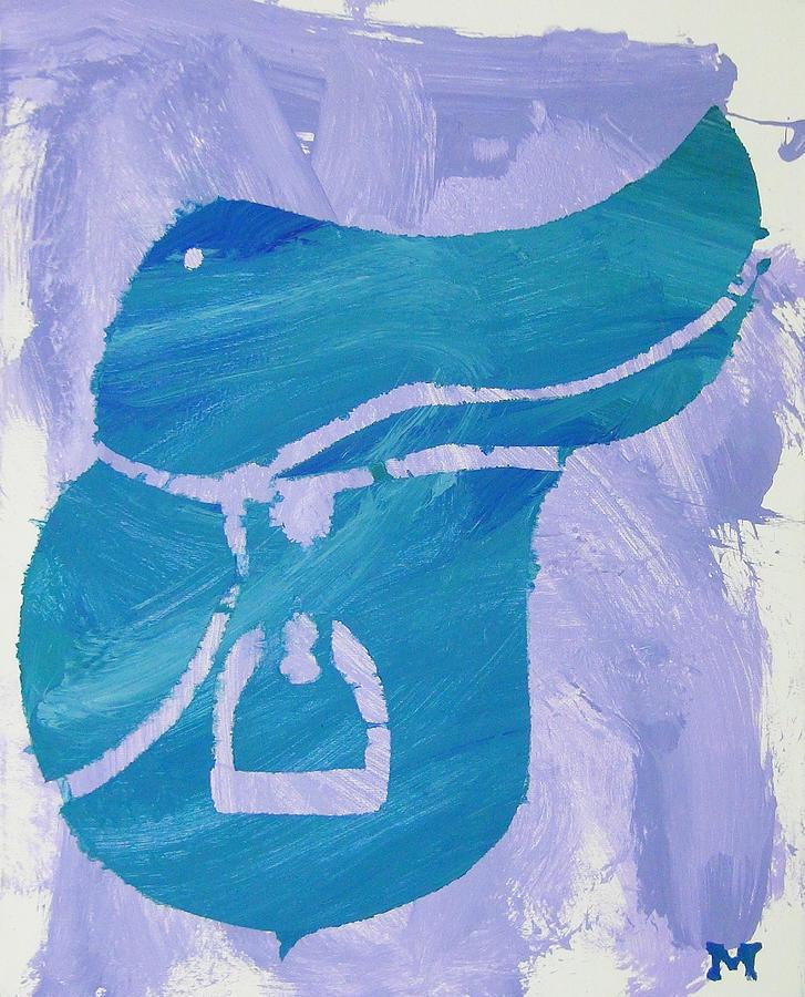 Horse Painting - Blue Saddle by Candace Shrope