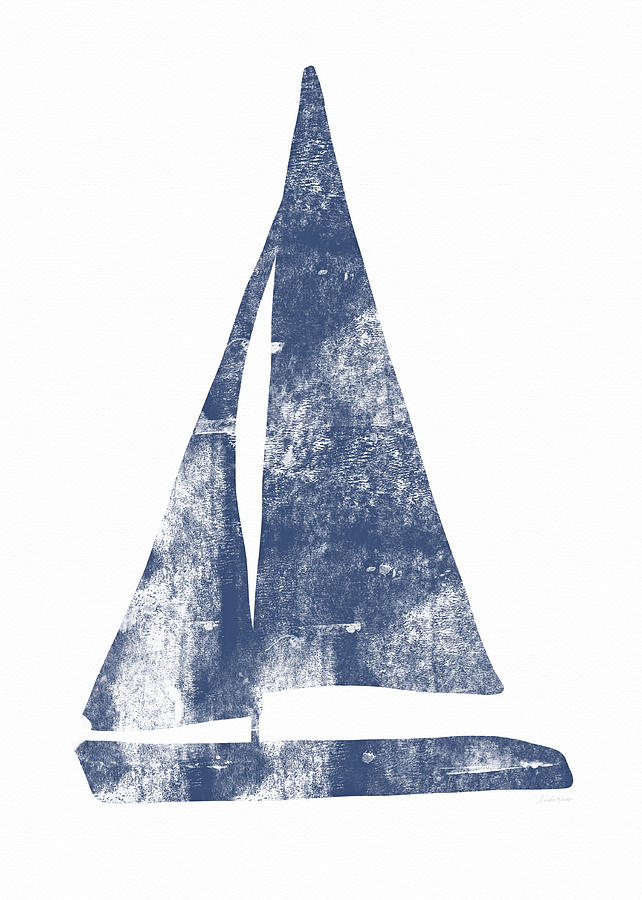 Boat Painting - Blue Sail Boat- Art By Linda Woods by Linda Woods