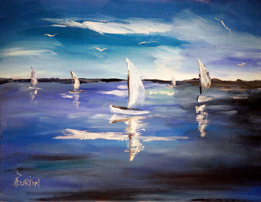 Blue Painting - Blue Sailing by Phil Burton