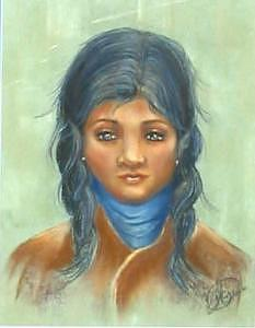 Native American Girl Painting - Blue Scarf by Margaret A Clark Price