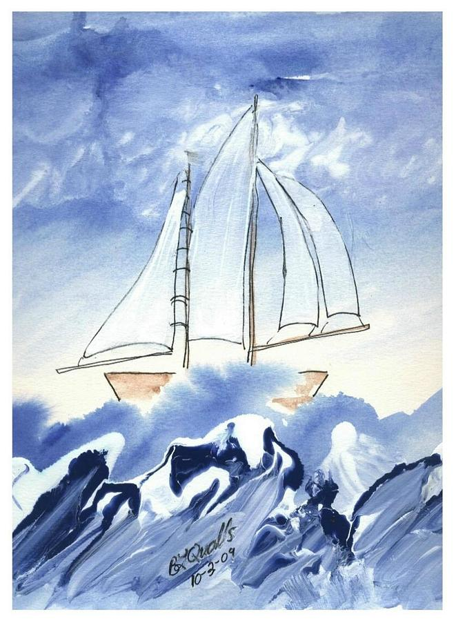 Boat Painting - Blue Sea And Sail by B L Qualls