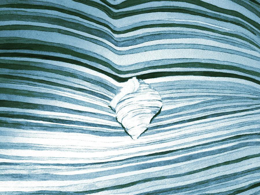 Seashells Painting - Blue Sea by Constance Larimer