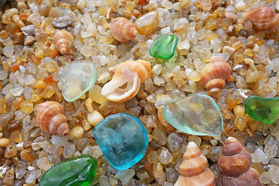 Blue Sea Glass Art Prints Rock Garden Shells Agates Photograph