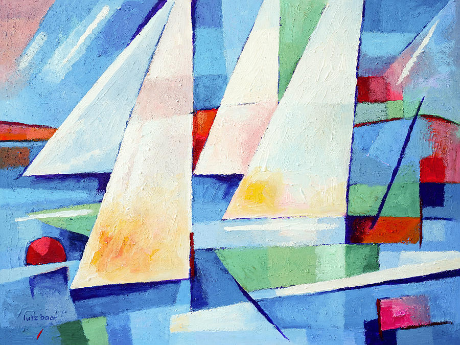 Abstract Sailboat Painting - Blue Sea Sails by Lutz Baar