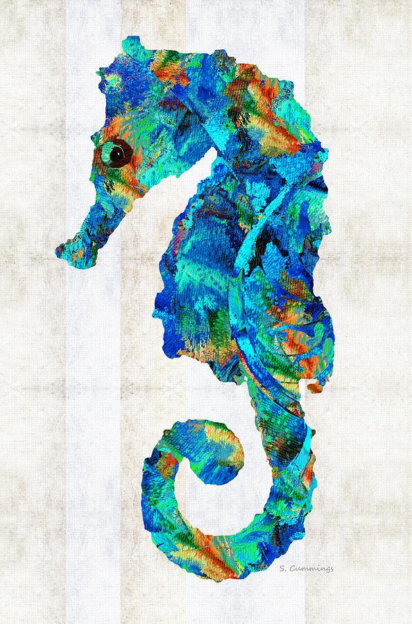 Seahorse Painting - Blue Seahorse Art by Sharon Cummings by Sharon Cummings