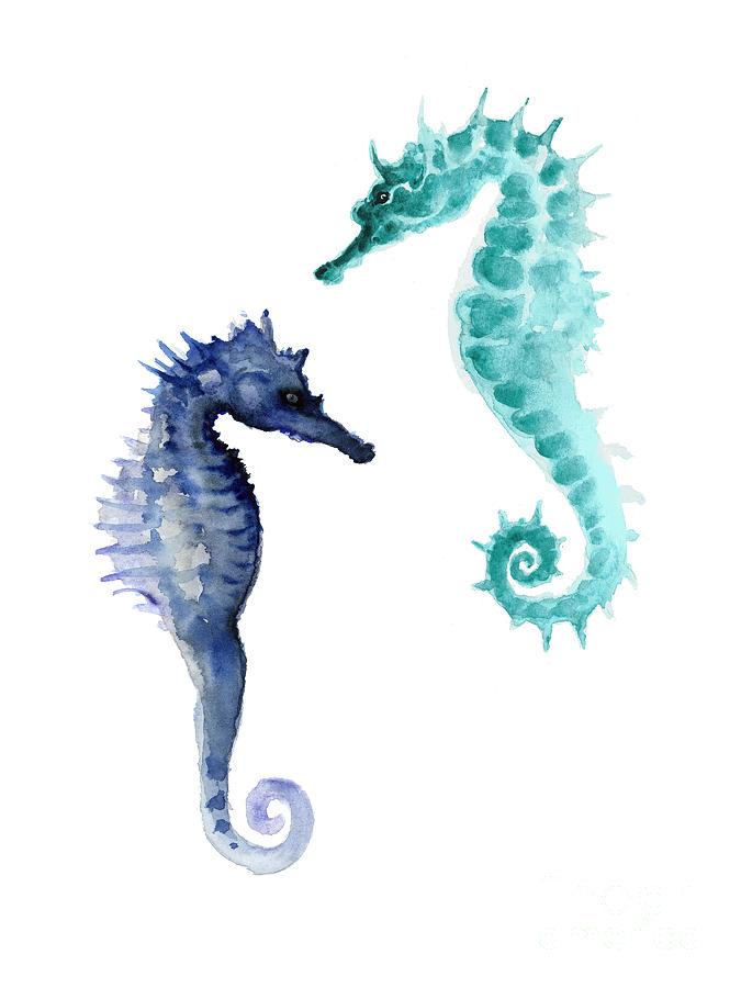 Seahorses Painting - Blue seahorses watercolor painting by Joanna Szmerdt