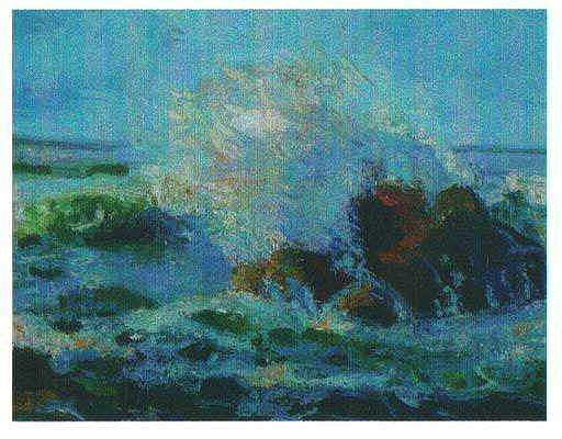 Blue Seascape Painting by Martha Sterling Stroman