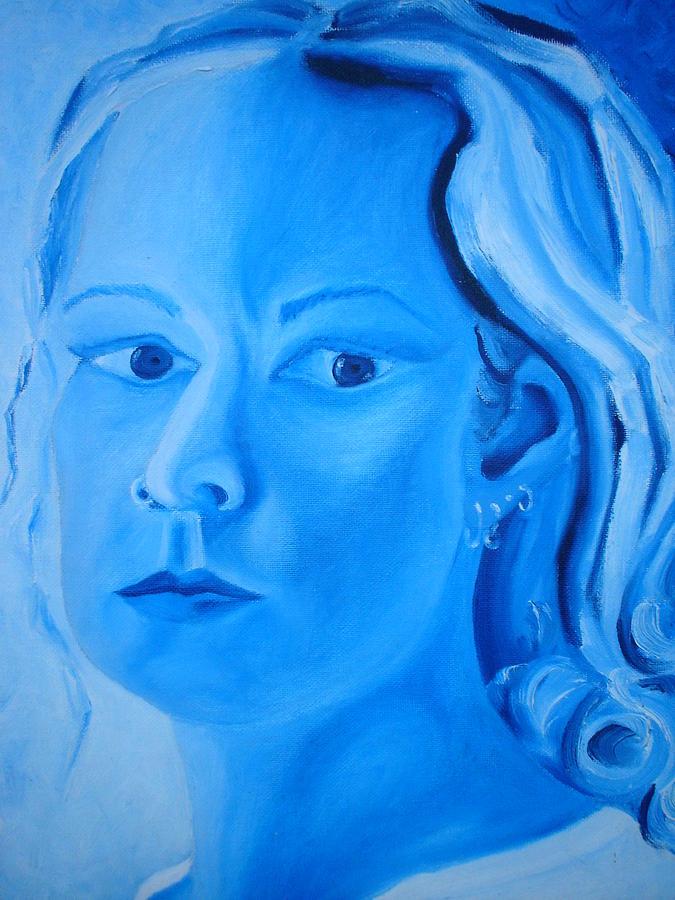Blue Self Painting by Amanda Prairiewind Hess