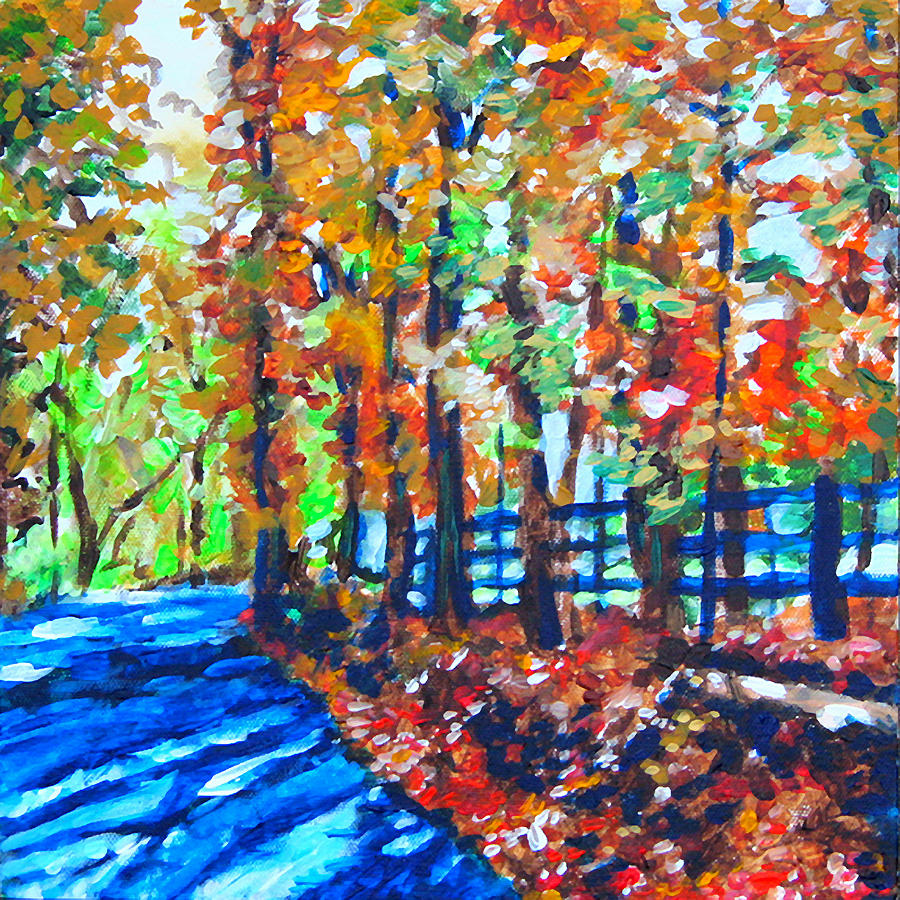 Landscape Painting - Blue Shadow Road by Laura Heggestad