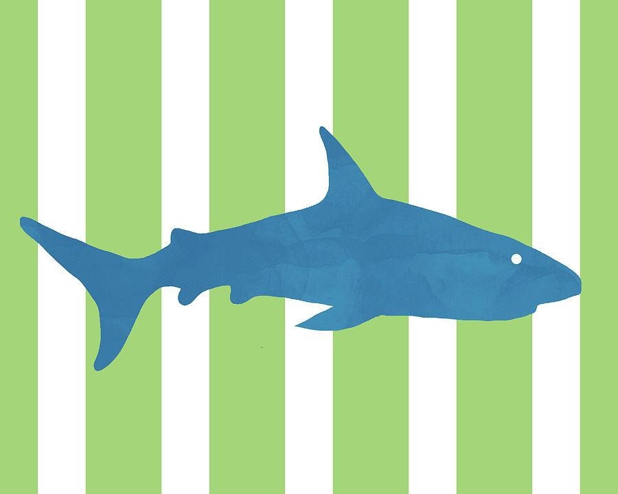 Shark Mixed Media -  Blue Shark 2- Art By Linda Woods by Linda Woods