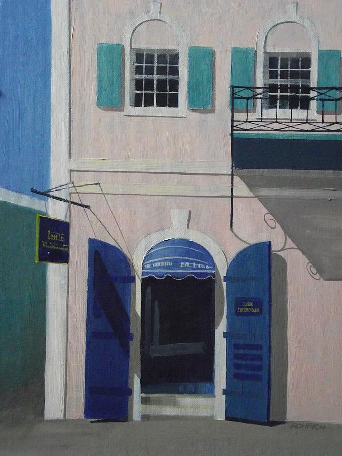 Main Street Charlotte Amalie Painting - Blue Shutters In Charlotte Amalie by Robert Rohrich