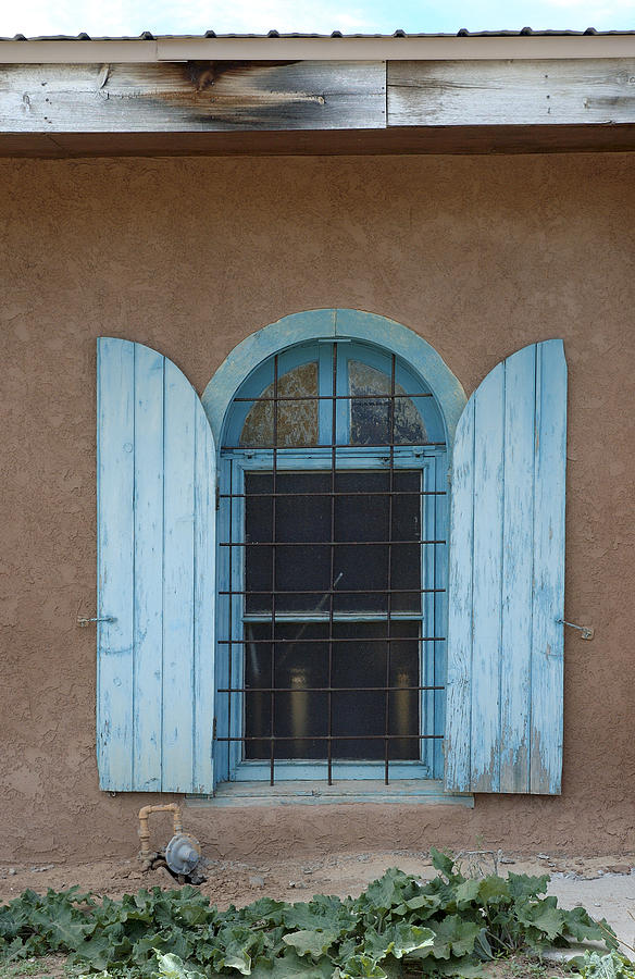 Adobe Photograph - Blue Shutters by Jerry McElroy