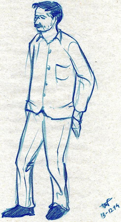 Home decor drawing blue sketch of a man standing against a wall by makarand joshi