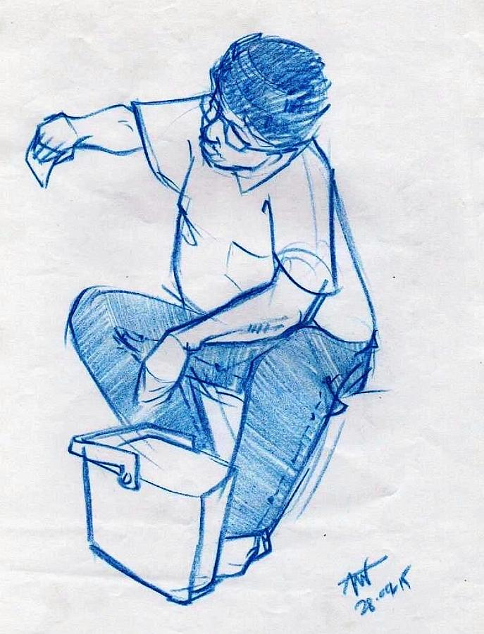 Blue Sketch.of A Glass Cleaner Drawing by Makarand Joshi