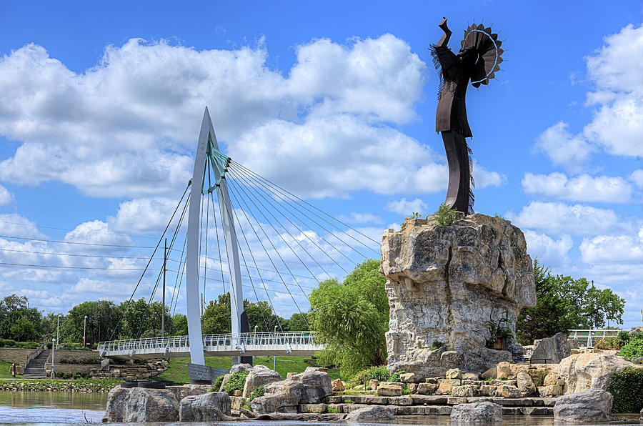 Keeper Of The Plains Photograph - Blue Skies Over Wichita by JC Findley