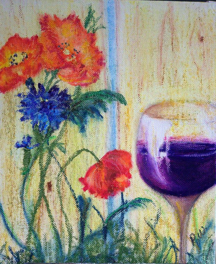 Wine Painting - Blue Skies by Pamela Wilson