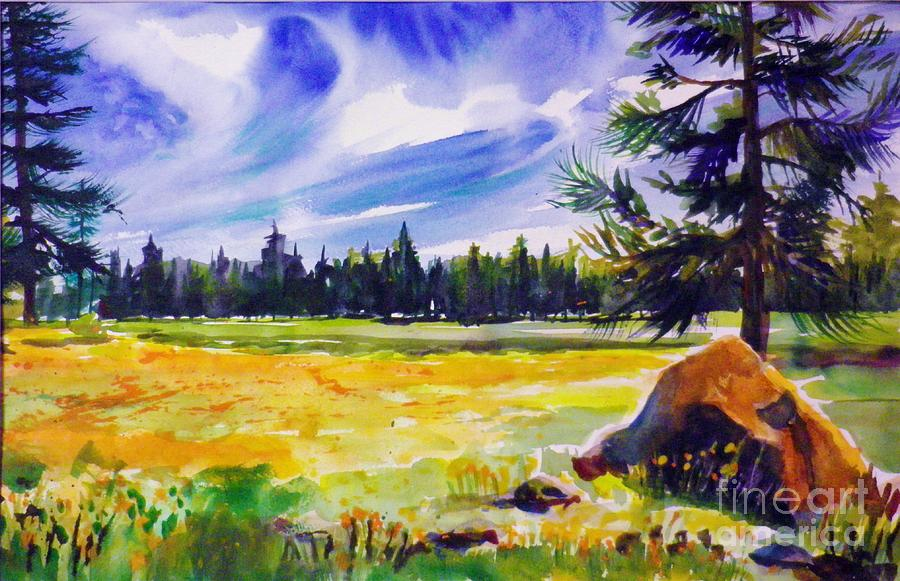 Pines Painting - Blue Skies Pines And Meadows by Therese Fowler-Bailey
