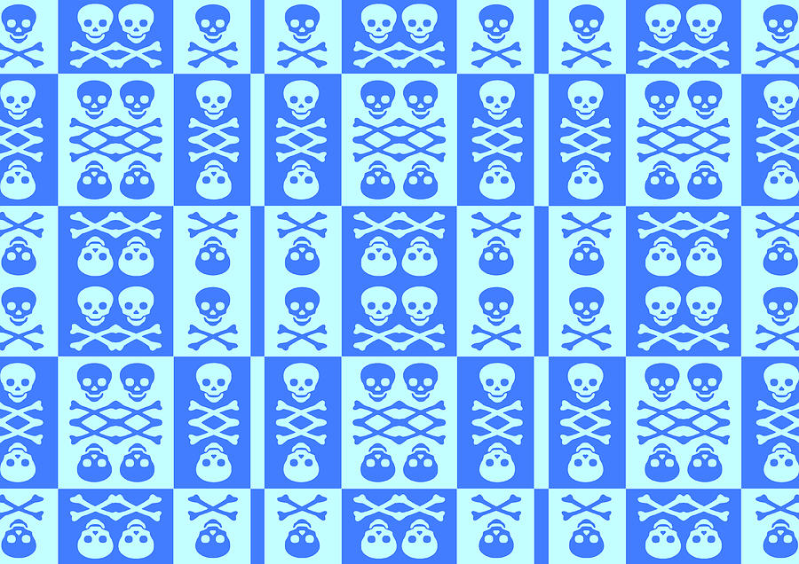 Blue Skull And Crossbones Pattern Digital Art