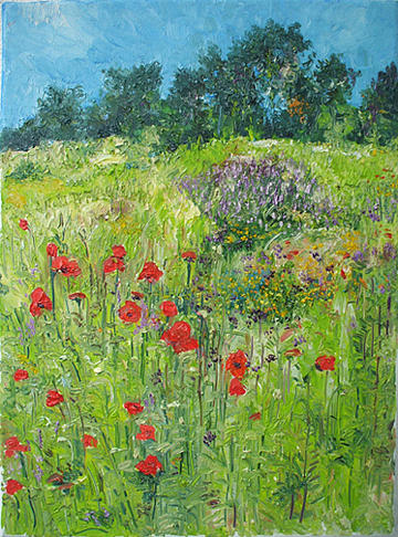 Poppy Flowers Painting - Blue Sky - Poppy Fields by Animesh Roy