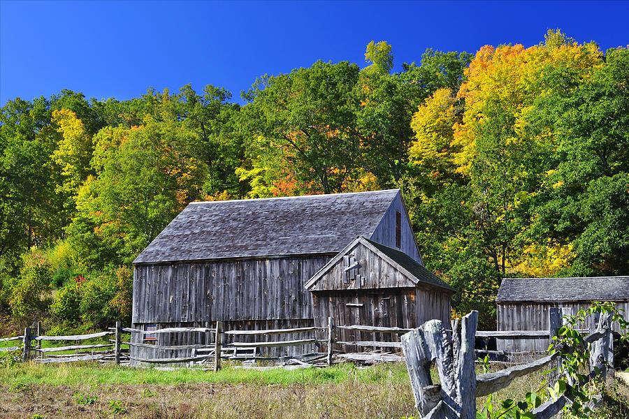 Sturbridge Photograph - Blue Sky Autumn Barn by Luke Moore