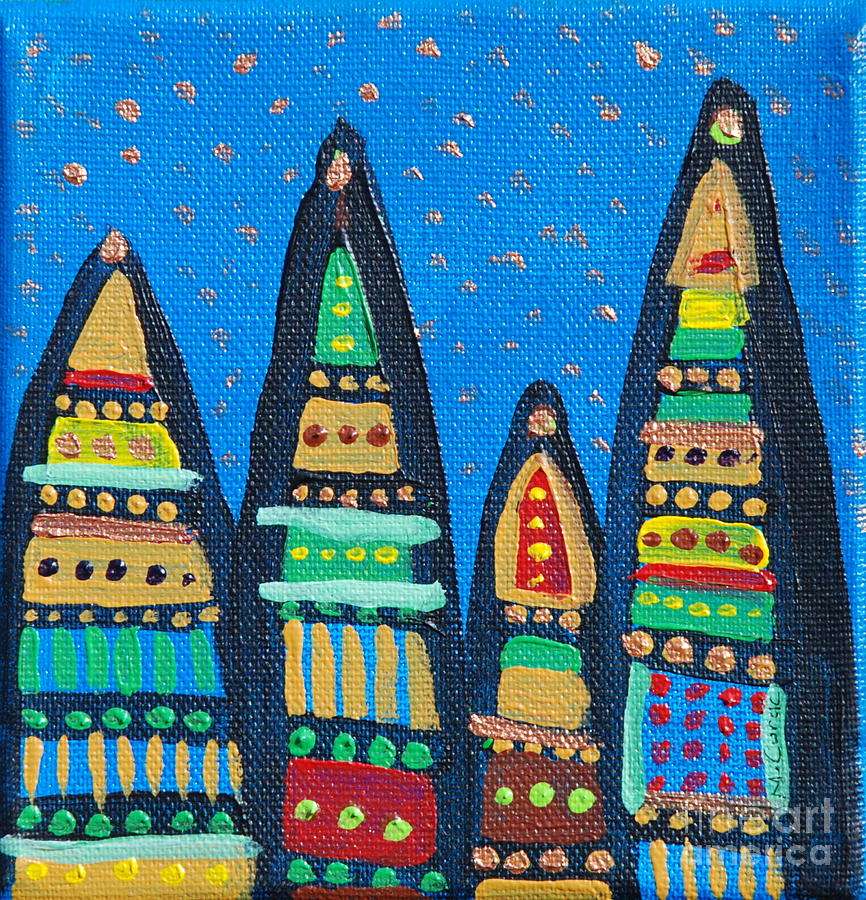 Blue Sky Catherdrals Painting by Maria Curcic