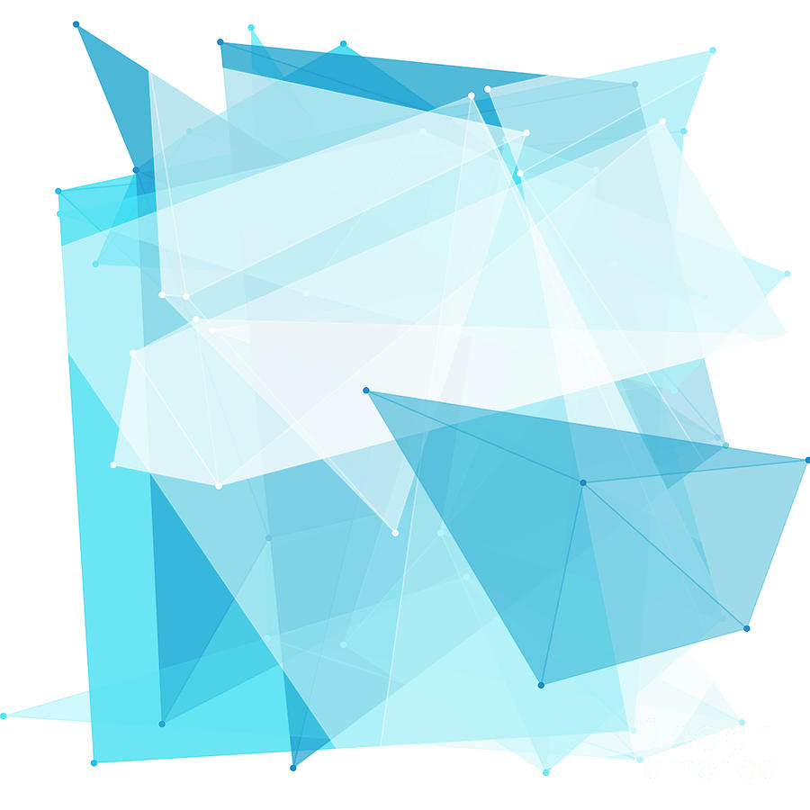 Abstract Digital Art - Blue Sky Polygon Pattern by Frank Ramspott